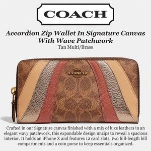 Coach Accordian Zip Wallet Signature Canvas